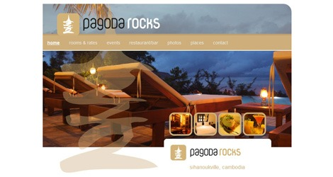 Screen shot of Pagoda Rocks home page